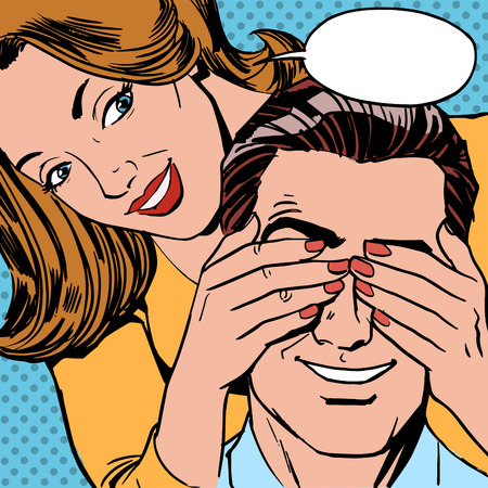 Who is the woman closed the man eyes for a surprise. Retro style couple