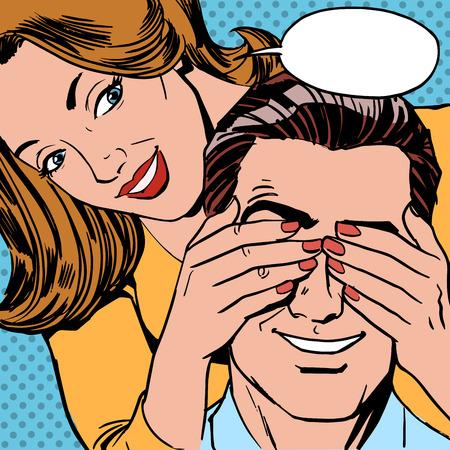 geschlossene augen: Wer ist die Frau schloss die Menschen die Augen f�r eine �berraschung. Retro-Stil paar Illustration