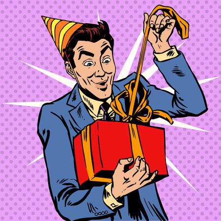 historietas: Hombre cumpleaños desempaqueta el regalo. Saludos de aniversario de vacaciones Vectores