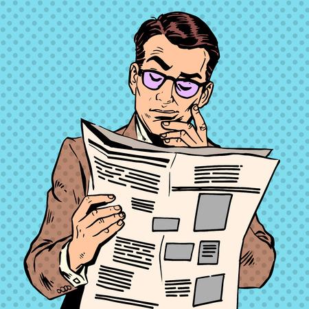 historietas: Un hombre lee un periódico. La mañana Información de prensa de lectura