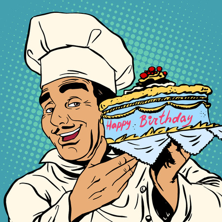 master chef: Pastry chef with birthday cake. The Italian man happily offers a holiday dessert Illustration