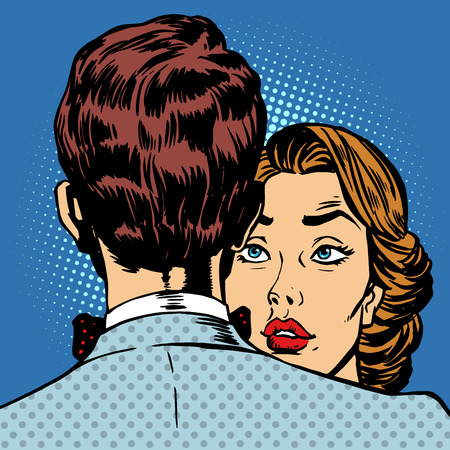 enamorados caricatura: Pareja hombre y mujer amor romance. La mujer mira a su marido Vectores
