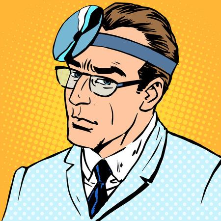 medico caricatura: Médico oído otorrinolaringólogo tratamiento de salud de garganta nariz Vectores