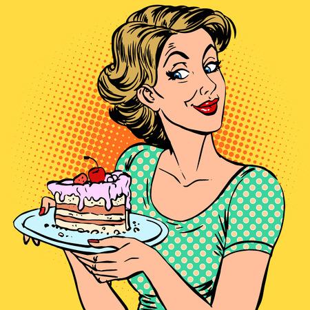 女性とデザートのケーキ。驚きは、食物を扱う