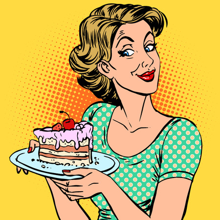 A woman and a dessert a piece of cake. The surprise treat food Stock Illustratie