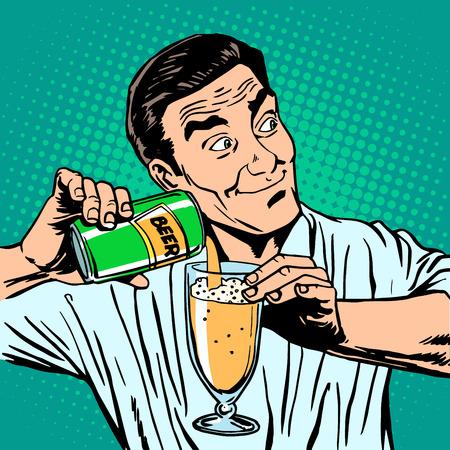 hombre: El camarero vierte la cerveza. Bebidas alcohólicas barra de hombre Vectores