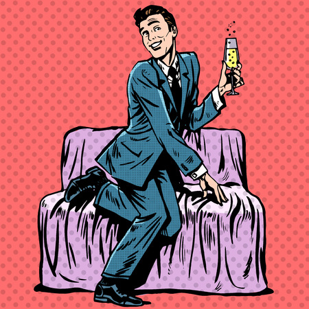 dating and romance: Playful man with a glass of champagne on the couch. Humor Dating romance