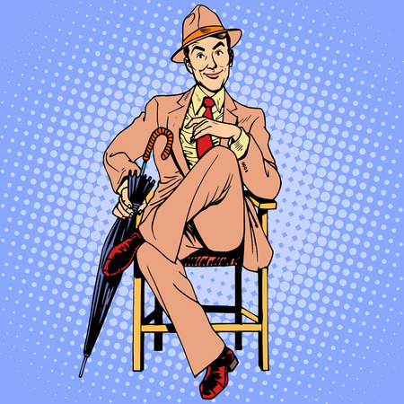 mod: Elegant man with an umbrella sitting on the stool. Beauty man mod Illustration