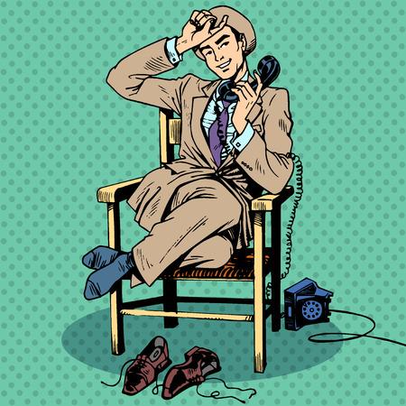 standardiste: Homme fatigu� assis sur une chaise et parler au t�l�phone. La communication de la technologie Appel