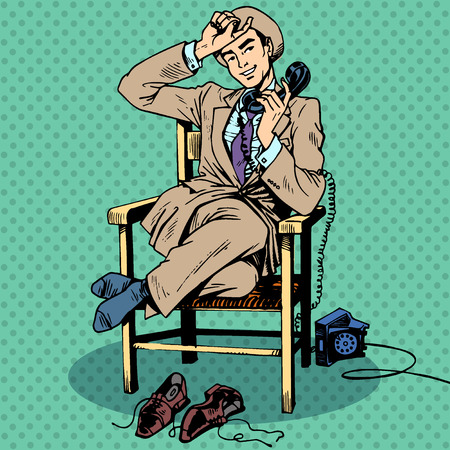 sits: Tired man sits on a chair and talking on the phone. Call technology communication Illustration