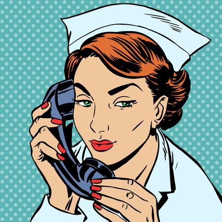 hospital caricatura: La enfermera en el mostrador de recepci�n habla por tel�fono. Ingresos hospitalarios uniformes Vectores