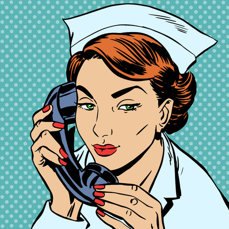 admissions: The nurse at the reception Desk talking on the phone. Uniform hospital admissions