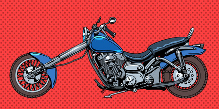 cartoon biker: Vintage motorcycle bike. Transport road bikers retro style