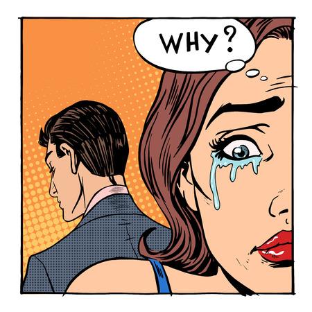 comic: Mujer llorando dijo por qué el hombre saliendo. Emociones chica amor divorcio