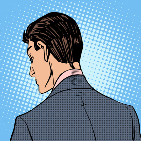 man illustration: The man turned his back and leaves. Retro style