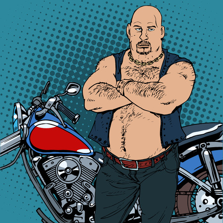 cartoon biker: Fat biker vintage motorcycle. The road bully retro style bandit Illustration