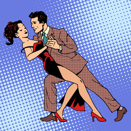 tango: Man and woman dancing a waltz or tango. The art of romance concert