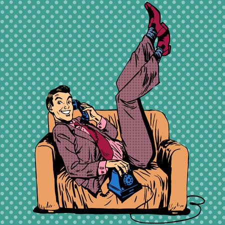 Lazy man on a sofa talking on the phone. The joy of positive slacker Stock Illustratie