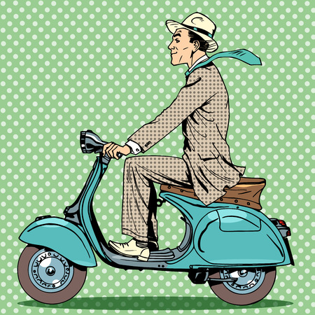 A man rides on a vintage scooter. Travel car road cars