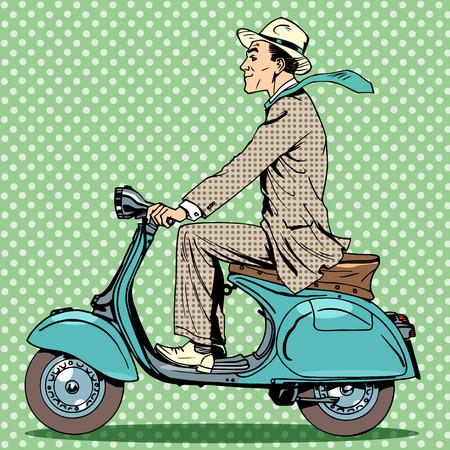 Un uomo cavalca uno scooter d'epoca. Viaggi automobili auto stradali Vettoriali