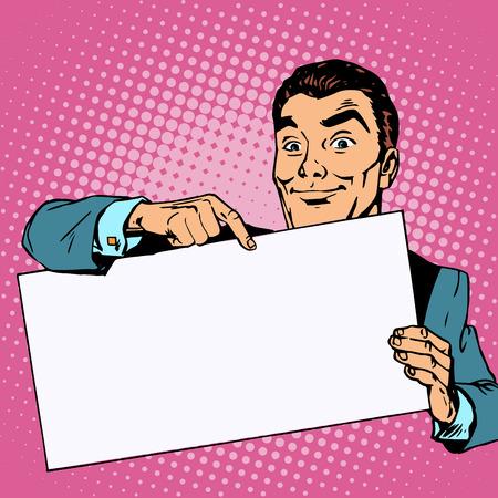 libro caricatura: Hombre Publicidad con lugar bandera para el texto. Hombre que señala el dedo estilo retro