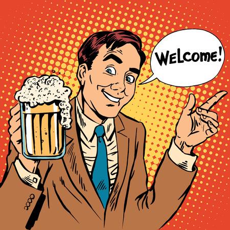 hombre tomando cerveza: Hombre de bienvenida al restaurante cerveza. Estilo retro Vectores