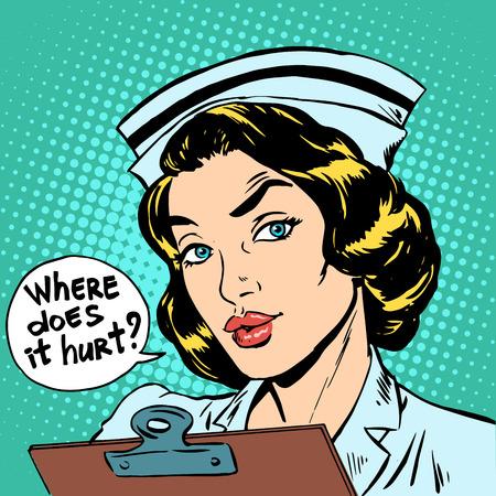 hospital dibujo animado: ¿Dónde le duele pregunta enfermera. Medicina hospitalaria Salud Vectores
