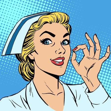 hospital dibujo animado: Enfermera gesto bien. Medicina seguro médico de salud