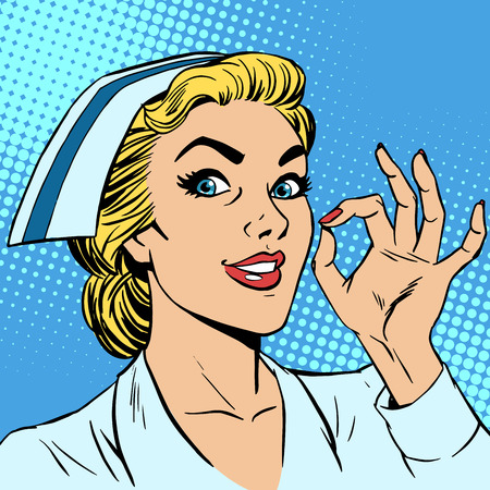 pop art woman: Nurse okay gesture. Medicine health medical insurance