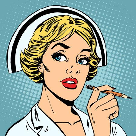 enfermero caricatura: La enfermera escribe un diagn�stico. Profesi�n de la salud Medicina