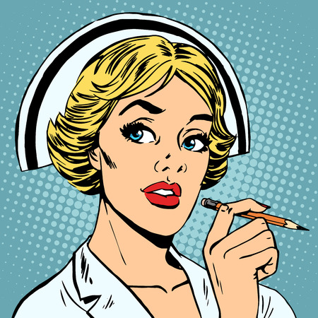 cartoon nurse: The nurse writes down a diagnosis. Medicine health profession
