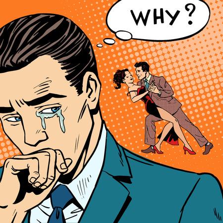 Man huilen zijn vrouw dansen met een andere man. Verraad liefdesrelatie