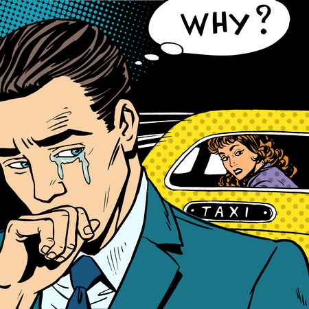 spouse: A man weeps his woman is leaving by taxi. Divorce separation love emotion crying Illustration