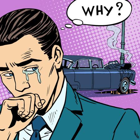 seguros autos: El hombre llora accidente de coche. Transporte por carretera seguro de coche