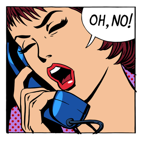 emotional: Emotional conversation of a  woman on the phone Illustration
