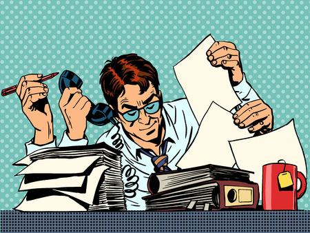 Biznesmen pracy na plik papierów