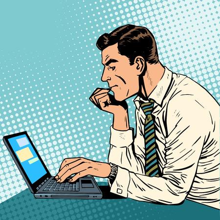 cómico: Un hombre que trabaja en un ordenador portátil