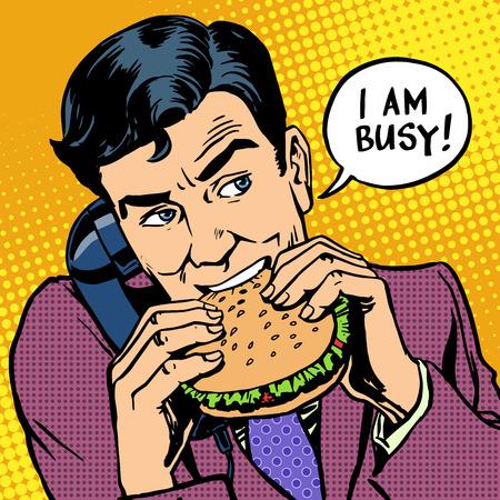 Homme mangeant un hamburger et parler au téléphone Banque d'images - 43873515