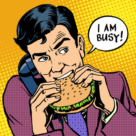retro art:  man eating a Burger and talking on the phone