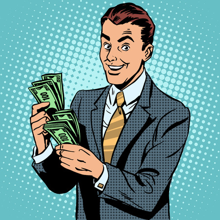 cash: Empresario contando dólares de dinero