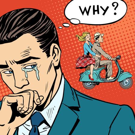 lacrime: La donna di sinistra con il suo amante su uno scooter Vettoriali