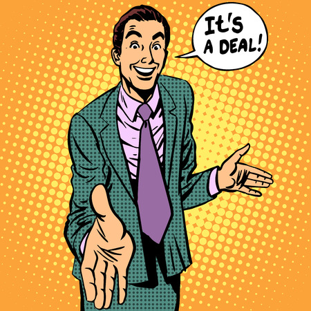 retro cartoon:  businessman handshake contract retro style
