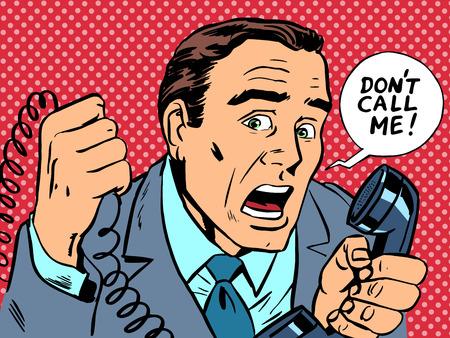 "telefono caricatura: Hombre con la burbuja del discurso de ""No me llames"""