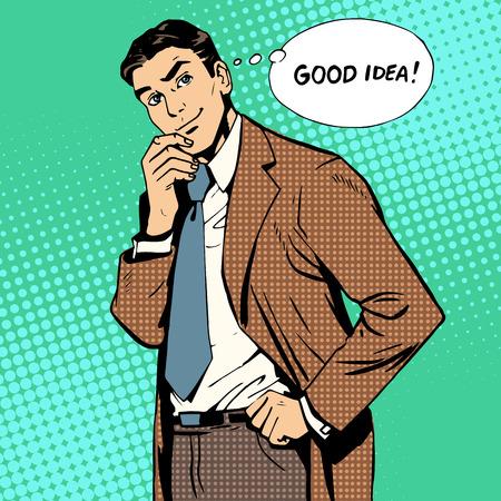 good idea: good idea creative businessman teamwork retro style