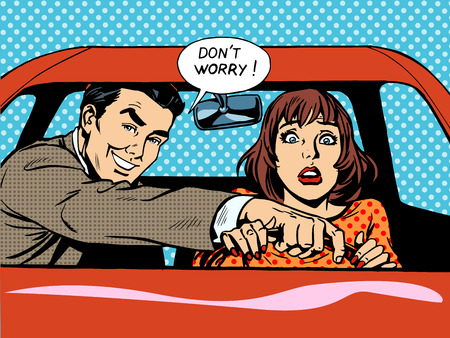 retro cartoon: Driving school the driver and the woman in the car. Husband helps his wife to drive
