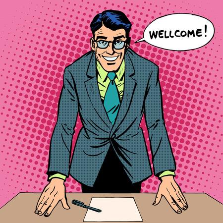 estudiando: Hombre de Bienvenida del arte pop de estilo retro Vectores