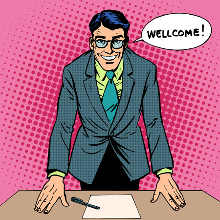 Welcoming man retro style pop art Illustration
