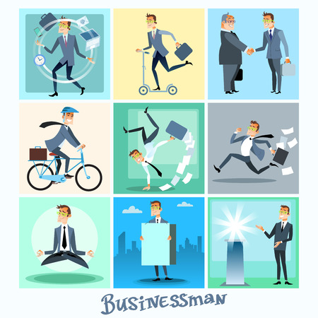 stressed people: Set of businessman collection business situations Illustration