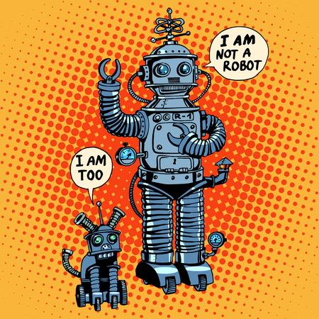 로봇과 로봇 개 미래 공상 과학 소설 레트로 스타일 일러스트