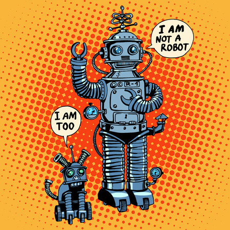 robot cartoon: robot and robot dog future science fiction retro style